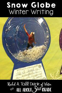 Snow globe winter writing prompt and bulletin board display.