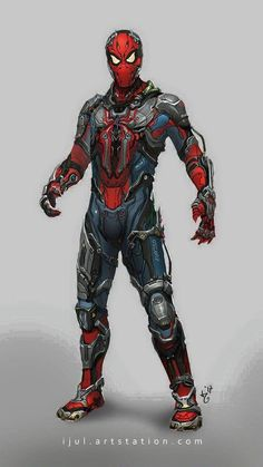 With a suit from Tony, it means Peter is pretty much Iron Spider at this point. The costume comes with a JARVIS-like artificial intelligence, complete with a holographic interface. The spider logo on his chest is a surveillance drone. Marvel Comics, Marvel Heroes, Marvel Avengers, Marvel Venom, Ms Marvel, Captain Marvel, Comic Anime, Comic Art, Spiderman Kunst