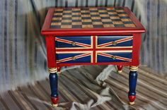 """""""The George"""" - One of a kind...Hand painted distressed Chalk paint End Table or Nightstand...Perfect for a child or teen's room...Checker or Chessboard makes for a fun Gaming Table perhaps between two leather club chairs in his office or den..."""