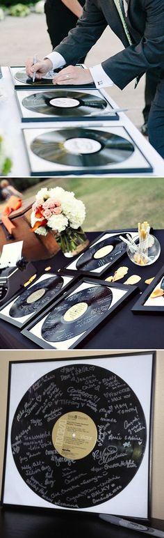unique record wedding guest books ideas