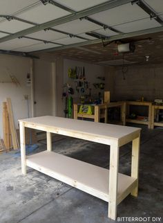 How to Build a Workbench & Build a DIY workbench for your garage or shop with plans from Bitterroot DIY . The post Build a Basic Workbench Easy Woodworking Projects, Woodworking Shop, Woodworking Plans, Wood Projects, Woodworking Chisels, Woodworking Equipment, Woodworking Basics, Woodworking Classes, Woodworking Techniques