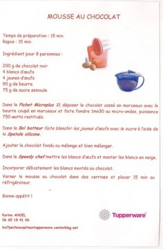 Mousse au chocolat les7pechescapitauxtupperware.centerblog.net Aquafaba, Tupperware Recipes, Patriotic Party, Biscuit Cookies, Image, Food, 31 Bags, Fountain Pens, Baby Products