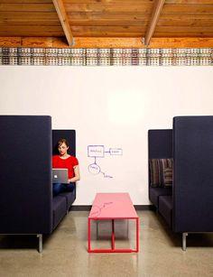 AOL (Palo Alto) - Work nooks along a whiteboard wall - love the idea