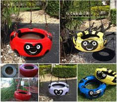How to Repurpose Old Tires Into Creative DIY Kids Tire Swing - Kids Backyard Tire Playground, Swing Pictures, Tire Craft, Reuse Old Tires, Tire Planters, Tire Swings, Kids Swing, Yard Swing, Yard Art