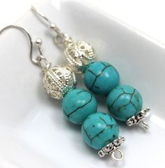 Turquoise, Filigree Silver and Bali Silver Dangle Earrings