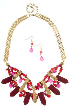 SIGNIFICANT STONE BEADS NECKLACE SET #wholesale #clothing #pink #fashion #fall #October #love #ootd #wiwt #shorts #skirts #dresses #tanks #jeans #denim #tops #outerwear