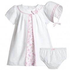 Mayoral Baby Girls White & Pink Dress, Knickers & Hat Set