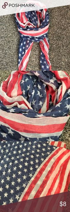 American Flag Scarf American Flag Scarf (Not infinity) EUC $8 Smoke/Pet-Free Home Accessories Scarves & Wraps