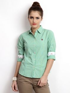 American Swan Women Green & Blue Checked Gridiron Smart Fit Casual Shirt | Myntra