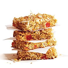 Chewy Coconut Granola Bars:  Super easy to make, these are perfect for breakfast, car, or snack.