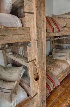 bunk bed ladder - Telephone pole steps timber platform bed