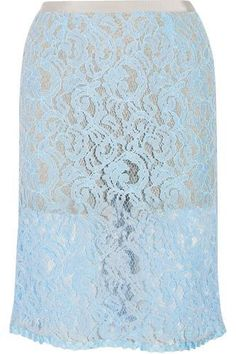 Sky-blue lace Hook and concealed zip fastening at back cotton; Top Designer Brands, Designer Shoes, Sacai Luck, Lace Skirt, Midi Skirt, Chloe Sandals, Covet Fashion, Fashion Design, See By Chloe