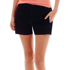 Stylus™ Twill Shorts Pink ($15) ❤ liked on Polyvore featuring shorts, navy blue, green shorts, navy blue shorts, twill shorts, zipper shorts and navy green shorts