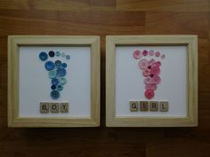 Plastic/Wooden Scrabble Art Button Baby Foot Picture Deep Wood Box Frame 6 x 6