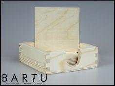 Drewniane pudełko na podkładki www.meblebartu.pl
