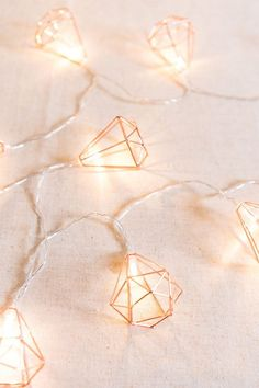Geometric Diamond Fairy Lights Rose Gold