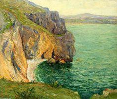 Les falaises Polhor, huile sur toile de Maxime Maufra (1861-1918, France)