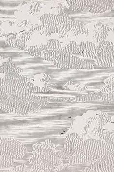 Ballpoint pen art / black and white illustration / ink / line artwork / clouds and birds / sky landscape Cloud Wallpaper, Summer Wallpaper, Dark Wallpaper, Modern Wallpaper, View Wallpaper, Nature Wallpaper, Modern Color Palette, Modern Colors, Art Grunge