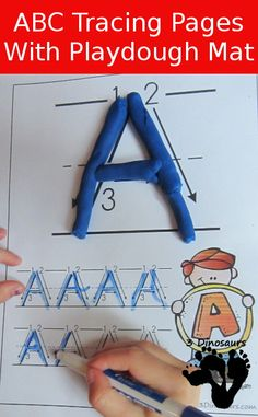 New FREE ABC Uppercase Tracing Pages with Playdough Mats: 2 types of tracing outline and dotted letter - 3Dinosaurs.com