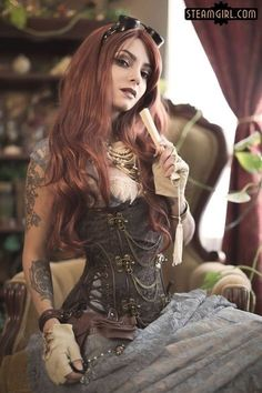 "steampunk-beauties: "" Submitted by: Psyche Corporation (steampunk inspired band, the singer pictured here sounds as beautiful as she looks. Steampunk beauty of the day! Steampunk Cosplay, Chat Steampunk, Corset Steampunk, Moda Steampunk, Style Steampunk, Steampunk Fashion, Gothic Fashion, Style Fashion, Steampunk Clothing"