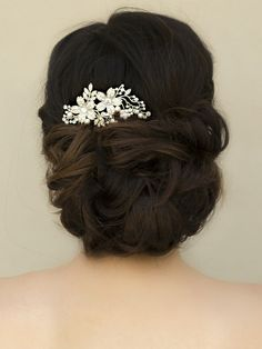 Romantic Rhinestone & Pearl Floral Hair Comb ~ Heidi - Bridal Hair Accessories, Wedding Headpieces, Bridal, Wedding, Hair Accessories, Headpieces, Combs, Clips, Hair Pins, Flowers, Headbands, Tiaras, Jewelry, Vintage, Beach - Hair Comes the Brid