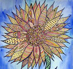 Zentangle Flower Original Watercolor by GroovyGalArt on Etsy