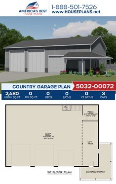 A Country garage with a loft, Plan 5032-00072 details 2,680 sq. ft., an RV bay, and a workshop. #garage #garageplans #architecture #houseplans #housedesign #homedesign #homedesigns #architecturalplans #newconstruction #floorplans #dreamhome #dreamhouseplans #abhouseplans #besthouseplans #newhome #newhouse #homesweethome #buildingahome #buildahome #residentialplans #residentialhome