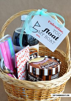 "DIY Valentine's Day root beer float gift basket. I think I'd add a couple of old-fashioned soda fountain glasses (or maybe just one meant for sharing!) to my basket. Printable gift card included. Leave out the ""Valentine"" part and this could work for anniversaries or birthdays or any day you want to tell someone special how you feel about them."
