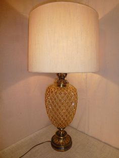 Mid Century Lamp  Pineapple Lamp  Gold Cut Glass by bluejeanjulie, $139.00