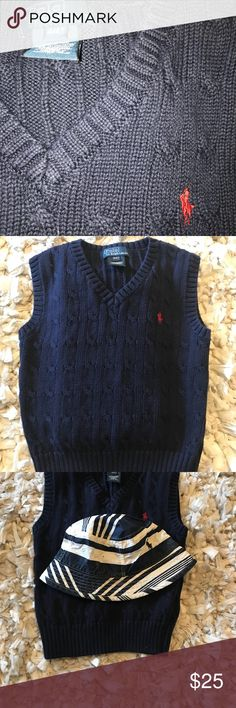 Polo Ralph Lauren V-neck Cable Knit Sweater Vest New without tags - no signs of wear on shirt- Comes with matching Chino Bucket Hat Size Youth one size fits all Sweater size 4T Navy blue cable Knit V Neck sweater Polo by Ralph Lauren Shirts & Tops Sweaters