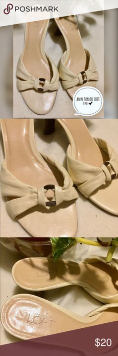 ANN TAYLOR LOFT Cream Kitten Heel Mules - 7M Pre-loved but in excellent used condition. Ann Taylor Shoes Heels