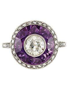 A Belle Epoque Platinum, Diamond and Amethyst Ring, Circa 1915.