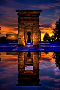 Templo de Debod. Madrid sunset. Spain