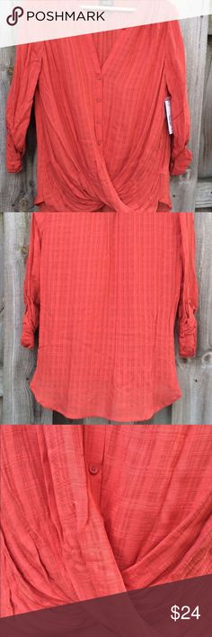 NWT a.n.a A New Approach Burnt Orange Blouse Lovely top with 3/4 length sleeve or long sleeve option. Gathering at waist. Lightweight and slightly sheer. Purchased and doesn't fit. My loss is your gain because this is absolutely beautiful. a.n.a Tops Blouses
