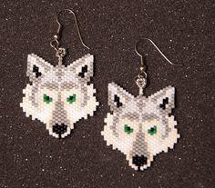 Wolf Head Earrings by HandMadeBeadedCrafts on Etsy