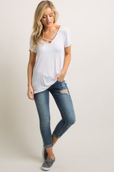 c4ae062c36491 Navy Blue Solid Crisscross T-Back Accent Top