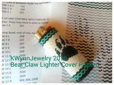 Pattern for Bear Claw Lighter Cover 2 Drop Peyote Beaded BIC Lighter Case… Native Beading Patterns, Beadwork Designs, Seed Bead Patterns, Native Beadwork, Weaving Patterns, Beading Projects, Beading Tutorials, Lighter Case, Bic Lighter