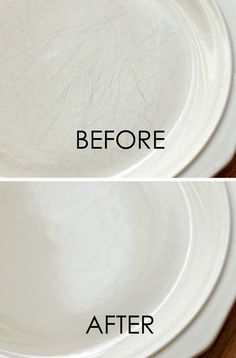 Get scratches off plates with this tutorial.  AND 45 of the BEST Home Organizational & Household Tips, Tricks & Tutorials with their links!! Party and event prep, too! from MrsPollyRogers.com