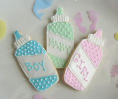 Reserved for Casey---Its a Baby Shower - Onesies - Bibs - Baby Bottles - Rattles… Fancy Cookies, Sweet Cookies, Cute Cookies, Sugar Cookies, Iced Cookies, Baby Shower Treats, Baby Shower Cookies, Galletas Decoradas Baby Shower, Moldes Para Baby Shower