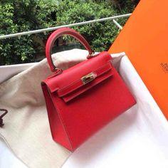 vintage hermes kelly 20cm red rouge vif ghw
