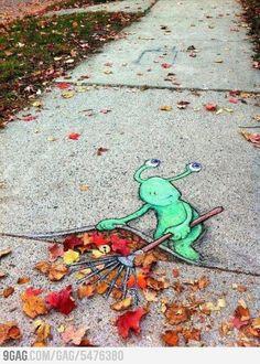 Fall sidewalk chalk art
