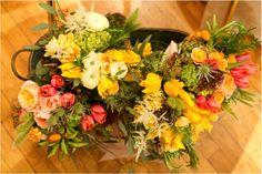 These oh-so-beautiful blooms from Sarah at Blossom and Branch are so textural and colorful, they seem to be welcoming spring in the most joyous of ways...