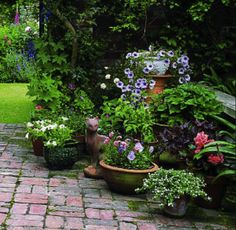 For patio plant containers - different levels looks nce