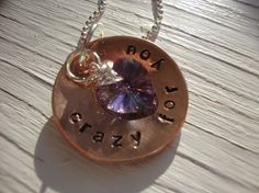 Crazy for You handstamped copper and silver by Lolasjewels on Etsy, $23.00   1980's lyrics