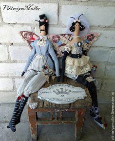Купить куклы тильда ручной работы БАБОЧКИ.СВАДЬБА))) - голубой, бежевый, кукла ручной работы