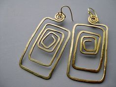 Long Maze Gold Tone Hammered Anodized Aluminum Wire Tribal Scroll Earrings. $16.98, via Etsy.