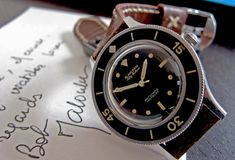 vintage blancpain fifty fathoms | ... note signed for the 50 Fathoms owner by Captain Bob Maloubier himself