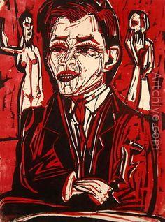 Ernst Ludwig Kirchner (1880 -1938) Pas nadat verzekerd is dat hij te gestoord is om ooit nog in dienst te hoeven, werkt hij mee aan de behandelingen, bijvoorbeeld door weer te eten. Tijdens zijn drie achtereenvolgende opnamen in Köningsberg is hij overigens bijzonder productief, maakt muurschilderingen en tekeningen en houtsneden.
