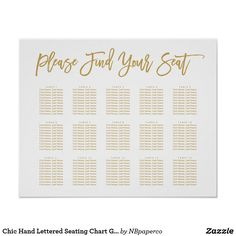 Shop Chic Hand Lettered Seating Chart Gold created by NBpaperco. Seating Chart Wedding, Seating Charts, Create Your Own Poster, Papers Co, Custom Posters, Custom Framing, Hand Lettering, Reflection, Poster Prints
