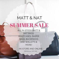 Matt & Nat Summer Sale now through July 31st. All in-stock styles on sale! In-store or online. #veganbags #veganfashion #mattandnat #crueltyfree